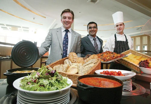 Le Marché at the Radisson SAS Hotel: Stephen Hanley, new general manager Radisson SAS Hotel , Raj Varde, and Vitalijs Gaurilous launch the new food experience, Le Marché at the Radisson SAS Hotel, Galway.