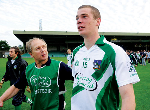 Limerick manager Mickey Ned O'Sullivan and star forward Ian Ryan following last weekend's comprehensive All Ireland football qualifier win over Meath.