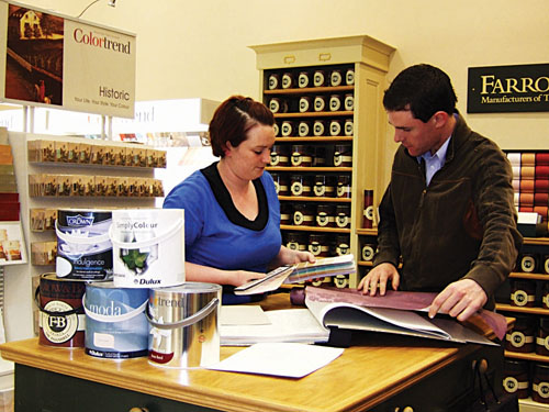 Michelle Nally, the Briarhill based Pat McDonnell Paints colour consultant, pictured giving advice to a customer.