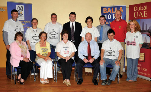 Pictured at the launch of the Balla 10K Road Race/Walk in aid of local charities. Front L-R; Betty Dabbagh (Western Alzheimer's), Mary Tiernan (Mayo Autism Action), Teresa Mahon (Vice Chairperson Arthritis Ireland), Tom Connolly (M& C Financial Services sponsor), Sean O'Neill (Balla GAA). Back L-R: Pat Ryan (Mayo Autism Action), Caroline Gilmartin (Shebeen sponsor), Padraic Kiernan (Mayo Autism Action), Cyril Bourke (Premier Estates Maloney sponsor), Sheila McNicholas (Arthritis Ireland), Stephen Costello (M & C Financial Services sponsor), Michael McGrath (Mayo Athletic Club), Louise Killeen (Rock Chicks Bra Chain),  Photo Ken Wright Photography 2008.