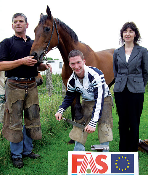 Pictured are Mr Gerry Dillon, employer and master farrier;  Mr Shane Connolly, apprentice farrier and Ms Yvonne Moran, senior training advisor, FÁS west region.