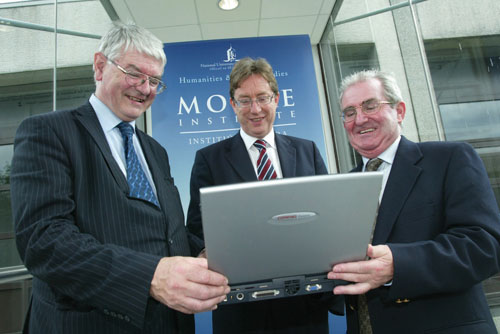 Pictured at the official launch of the electronic database and archive from left: Minister of State, Dr Martin Mansergh; president of NUI Galway, Dr James Browne; and Professor Gearóid Ó Tuathaigh, NUI Galway.