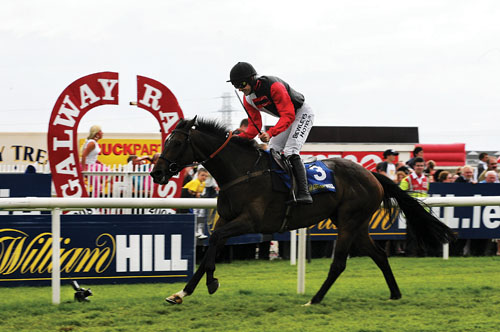 Jockey Ruby Walsh brings home Oslot to win the The William Hill Galway Plate on Wednesday at Ballybrit. Photo:-Mike Shaughnessy