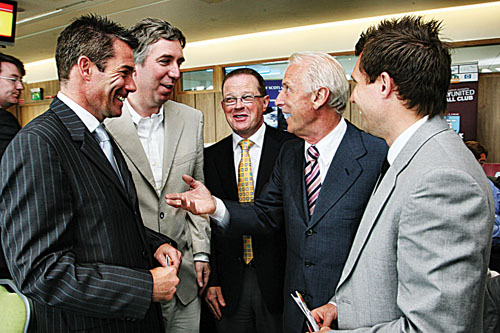Galway United manager Jeff Kenna (left) meets Republic of Ireland manager Giovanni Trapattoni at the Galway United corporate dinner held at the Galway Races on Tuesday. Also in the photo is John Delaney CEO of the FAi, Michael Keane, regional manager of Bank of Scotland, and Steve Forster Galway United assistant manager. Photo:-Mike Shaughnessy