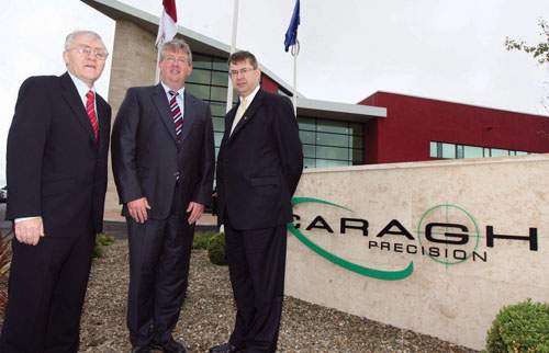 Pictured at the opening are Seamus Bree, regional eirector at Enterprise Ireland, Edward Kenny, MD Caragh Precision and Minister Eamon O Cuiv.