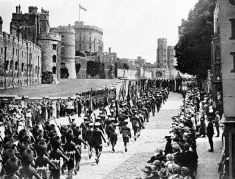 A proud good-bye: The arrival of the Colours of the Irish regiments at Windsor Castle, June 12 1922.