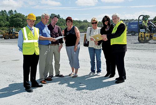 Members of Castlebar Tennis Club with Tom Murphy, Chairman of the Development Committee, checking the progress at the new club at  Lough Lannagh. Photo: Ken Wright Photography 2008.