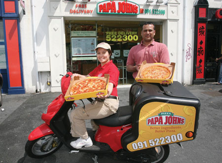 Two of the Papa John's team — Maria Mugirne and Syed Nafees.