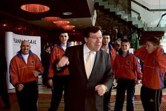 Fightin' talk — An Taoiseach Brain Cowen with members of the Olympic Boxing Club at the Fianna Fá¡l parliamentary party seminar held in the Clayton Hotel, Galway  on Monday. Photo:-Mike Shaughnessy