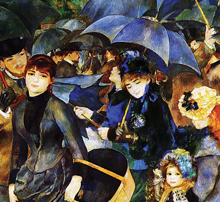 Beautiful rain: Renoir's famous Les Parapluies (The Umbrellas 1883) is one of the controversial Lane Pictures, caught up in a legal wrangle and  kept in the National Gallery of London. It can now be seen with the full Lane Bequest at the Dublin City Gallery, the Hugh Lane, until the end of the month