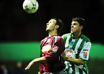 Jay O'Shea, Galway United's chief protagonist on Tuesday night, up against Kevin Doherty of Bray Wanderers in the FAI Ford Cup quarter-final replay at the Carlisle Grounds.
