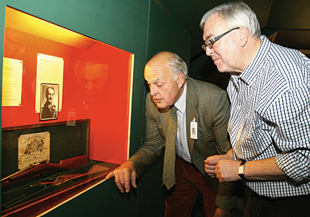 A rifle returns to Coole after eight decades: David Murray Brown (left) talking about Richard Gregory's boyhood. 22 Winchester rifle, and case, which was stored for safe keeping in the Dublin strongroom of Whitney Moore and Keller, Lady Gregory's solicitors, in the 1920s for safekeeping. It is now on display at the Visitors' Centre, Coole.