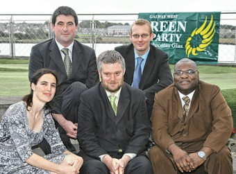 The Green Party candidates from next year's local elections: Patrick Creed (Loughrea), James Hope (Galway City East), Mairead Ní Chroinín (Galway City Central), Niall Ó Brolacháin (Galway City South), and Paul Osikoya (Tuam). Photo:-Mike Shaughnessy