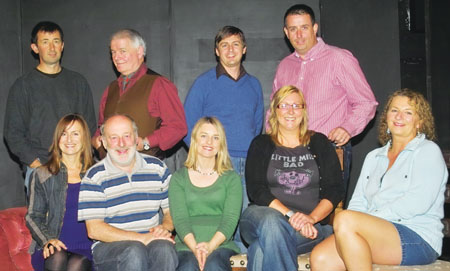 Members of Athlone Little Theatre: Back L-R Ronan Flynn, Harry Smith, Ian Mun, and John McGlynn; Front L-R Annette Dowling, Paddy Martin, Ashling Kelly, Brenda Bigley, and Ann Hoey.