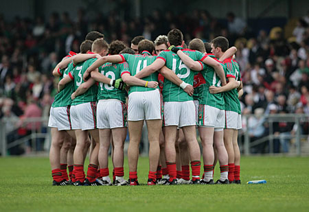 Brothers in arms: The Mayo minor team share a moment before last weekends All Ireland Minor Football Championship final replay in Longford. Photo: Sportsfile