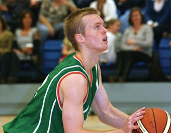 Garnett Griffin shooting free throws for An Cearnog Nua, Moycullen, in the new NUIG Sports Centre at the weekend.
