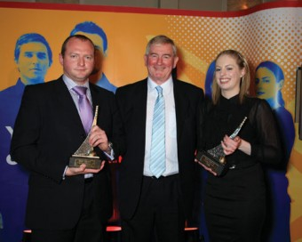 Winners Lee Tedstone, Nvolve Ltd, and Irene Trowell, Galway Laser & Skincare Clinic, with Christy Loftus, Shell.