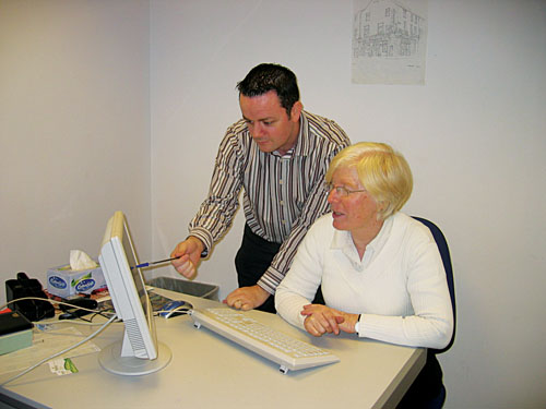 Evergreen's James Higgins and Aideen Hurley checking out their website which has just been shortlisted for a Golden Spider award.