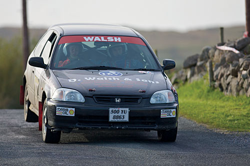 Hard driving: Ciaran Walsh and Aidan Gannon - second and first respectively in class 2 on the Dunlop National Rally Championship, and runners-up on the McAree Engineering Border Rally Championship.