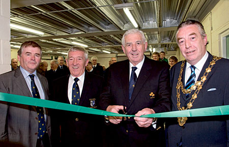 Gerry Kelly, CEO Connacht Rugby; Mick Grealish, president of Connacht Rugby; John Lyons, president of the IRFU, who performed the official opening; and the Mayor of Galway Padraig Conneelly, at the official opening of the new Connacht Rugby gym at the Galway Sportsground.