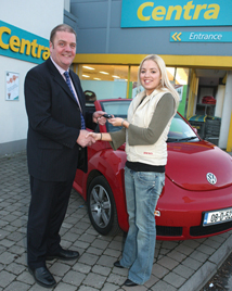 John Raftery, owner of Centra, Claremorris, was delighted to present Ruth Kilgallon, Ballaghaderreen with the keys of a brand new Volkswagen Beetle abriolet that she won in his store.