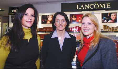 Linda Myers, Lancome regional business manager; Maura O'Gorman, pharmacy manager; and Audrey Kinahan, owner, at the University Late Night Pharmacy's newly opened cosmetic department.  Picture: Philip Cloherty.