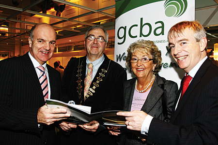 Anthony Ryan, Ronnie O'Gorman (chairman), Mary Bennett, and David Hickey attending the Galway City Business Association annual general meeting on Tuesday. Photo:-Mike Shaughnessy
