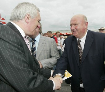 They won't get rid of me as easily — Michael Fahy greeting then taoiseach Bertie Ahern at Ballybrit some years ago.