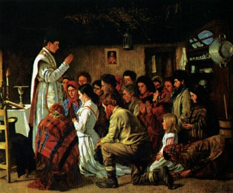 The true faith? -  Mass in a Connemara cabin, by artist Aloysius O'Kelly. The romance of this fine painting belies the scars that the battle for souls left in the area.