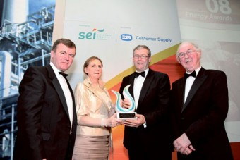 Pictured at the Sustainable Energy Awards were Seán Power TD, Minister for State at the Department of Communications, Energy and Natural Resources; Brid Horan, Executive Director, ESB Customer Supply and Group Services; Michael Lennon, Westport Woods Hotel and Spa and Brendan Halligan, Chairman, Sustainable Energy Ireland.