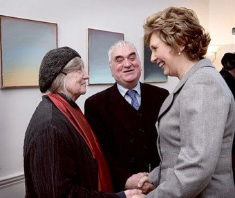 President of Ireland Mary McAleese with Achill-based  painter Camille Souter and composer Seóirse Bodley. Both artists were presented with a gold torc — the symbol of the office of Saoi — by the President.