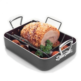 The Prestige Professional Roast N' Rack features a three-coat non-stick interior, non-stick roasting rack, and stylish riveted cast handles for maximum safety and durability. It is oven safe up to 500°F/260°C/Gas Mark 9 and comes with a Prestige lifetime guarantee. Suitable for all cooker types except induction. Price €79.99.