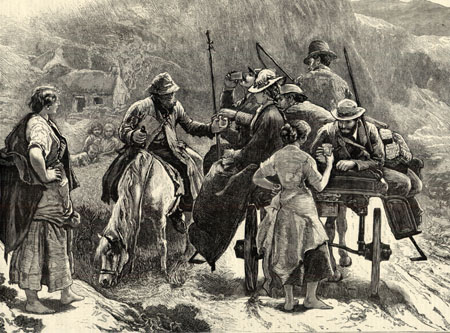 This very fine woodcut was published in the Illustrated London News sometime in the 1880s. It is a romantic view of a kindly Irish peasant giving a  glass of 'anti Parliament whiskey alias potsheen' to English angling  tourists on a side car,  somewhere in the mountains of Connemara. It is an attractive scene. A woman watches while another woman hands over a glass of poitín. There are children watching, with small cabin homes in the background.  The Illustrated London News was founded by a printer Herbert Ingram, and was published weekly from 1842, and latterly monthly until 1971. In the 19th century its illustrations were by woodcuts, which were beautifully crafted by a variety of artists. The ILN was kinder to the Irish peasant and our political leaders than Punch which often drew the Irish as a Darwinian sub human.  Sir Walter Scott had made the highlands of Scotland romantic and popular, and the ILN tended to project that romanticism on to its Irish illustrations. Nevertheless, they are worth collecting, and if you ever come across some for sale in antique shops snap up the Irish pictures.