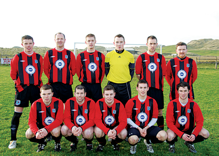 Penalty Kings: The Iorras Aontaithe team who beat Dublin Bus on penalties in the FAI Junior cup last weekend.