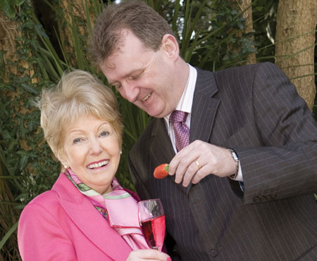 John Ryan of The Ardilaun hotel, tries to tempt Anna O Coinne, chairperson The National Breast Cancer Research Institute (NBCRI), at the launch of the charity's Valentine's Ball which takes place at the Ardilaun on Saturday February 14.   Photo: Martina Regan