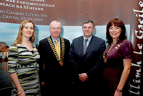 Pictured at last year's award ceremony were Majella Collins, Galway Advertiser (sponsor of Gradam Sheosaimh Uí Ógartaigh), Peter Allen, then president of Galway Chamber of Commerce, Steve Ó Cúláin, Údarás na Gaeltachta, Evelyn Cormican, then president of Junior Chamber of Commerce Galway at the presentation of Gradam Sheosaimh Uí Ógartaigh 2007 in The Ardilaun hotel.
