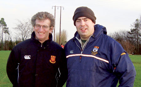 The coaches of Buccaneers u15s, Clem Higginbotham and Brian Moore, pictured at a recent match.