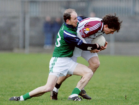 Westmeaths John Smyth tackles Galways David Finnegan during last Sunday's league opener in Mullingar. Photo: John O'Brien