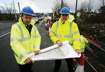 Joe Tansey, head of Galway Transportation Unit (Galway City Council) and Cllr Michael Crowe, chair of the Integrated Transportation Coordinating Group, Galway City Development Board assessing the current status of the outbound Dublin Road bus lane, which is scheduled for completion in March 2009.