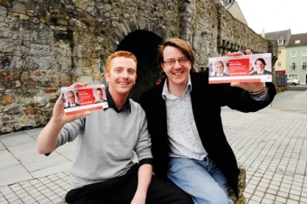 Niall Mc Nelis and Derek Nolan pictured with membership leaflets for the Labour party. Each candidate is to distribute 5,000 membership applications in the next few weeks.  Photo: Andrew Downes