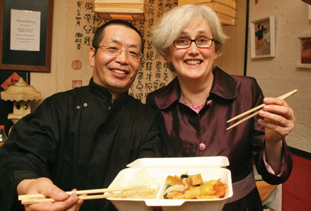 Du Han Tuo and Catherine O'Brien of Da Tang Noodle House at a reception in their Middle Street restaurant on Monday evening to mark the launch of the restaurants' new Lunch Box menu. Photo:-Mike Shaughnessy