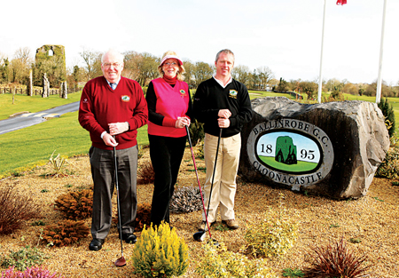 Pictured at Ballinrobe Golf Club at the Captains Drive In are Pat Hoilian (club president), Leo Gannon (ladies' captain) and Paul Hynes (captain) Ballinrobe Golf Club. Photo: Michael Donnelly.
