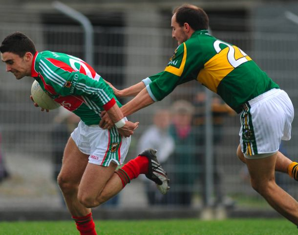 Marked man: Mayo's Kieran Conroy breaks out for Mayo against Kerry in Tralee on Sunday. Photo: Sportsfile