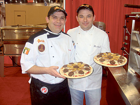 Fran Carroll and Michael Harnesse with their award-winning pizzas.
