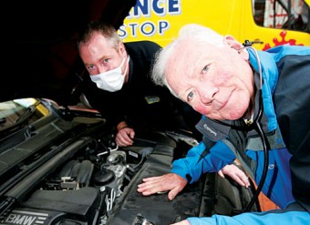 Picture (L-R), Declan Walsh, training manager of Advanced Pitstop and Gay Byrne, chairman of the Road Safety Authority, launching Advanced Pitstop's free five-point vehicle check in all its branches in 2009.