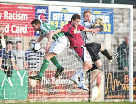 John Russell of Galway Uniteds is denied a goal by Bray Wanderer's Daire Doyle and Chris O'Connor in action from the League of Ireland Premier Division game at Terryland Park on Friday night. Photo:-Mike Shaughnessy