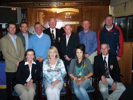 Winners all around: Westport golf winners. Seated: Mary McNicholas, Cathy O'Donnell, Anna O'Donnell, and Sean Fitzgerald. Standing: Liam Friel, Brian O'Donnell, Colm O'Neill, Hugh Murphy, Alex Mealia, Steve Goggins, and Padraig Walsh.