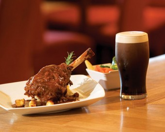 Lamb shank and a pint of plain at Cullen's Cottage restaurant.
