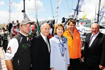 President Mary McAleese and husband Dr Martin McAleese, shown around the dock by Knut Frostad CEO Volvo Ocean Race, and Let's Do It Galway chairman John Killeen, with Green Dragon skipper Ian Walker, at the start of leg 8 from Galway to Marstraand.