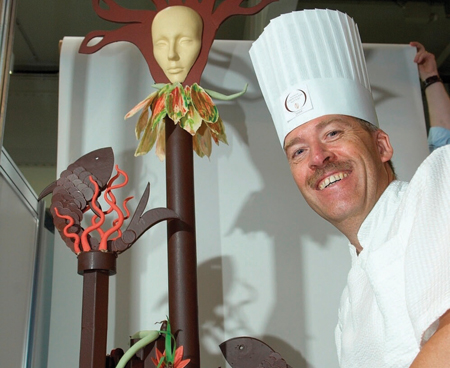 Dirk Schonkeren of Helena Chocolates with his Granuaile inspired chocolate sculpture which was part of his entry for the World Chocolate Masters finals.